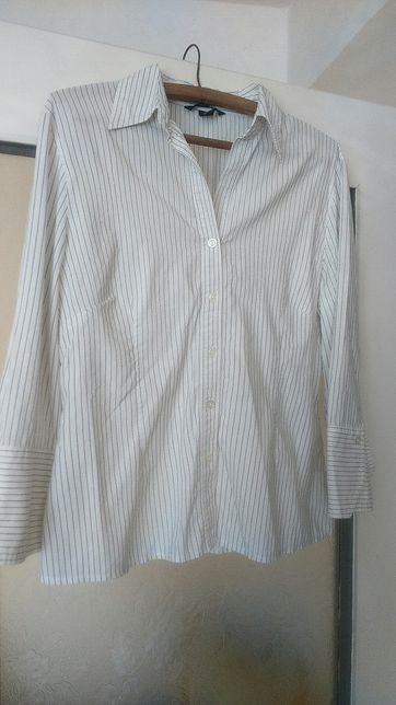 Koszula elegancka biała w czarne paski, biała koszula, H&M, rozmiar 42