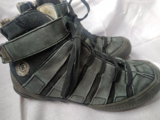 Кожаные кроссовки-ботинки