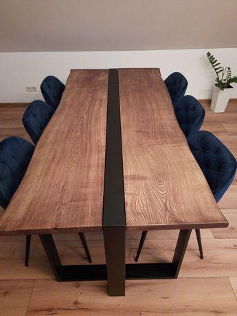 Stół jesionowy loftowy indriustralny monolit stol metalowy