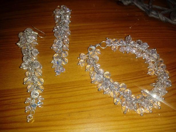 Biżuteria ślubna : kolczyki + bransoletka