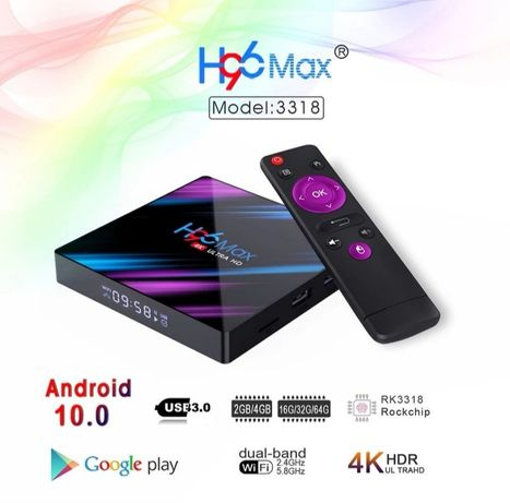 H96 max android 10 smart tv box 4gb/64gb RAM
