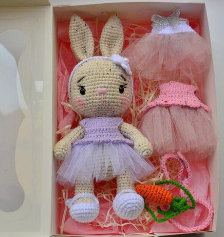 Зайчик, зайка, эко игрушка, ручная работа, вязаная кукла