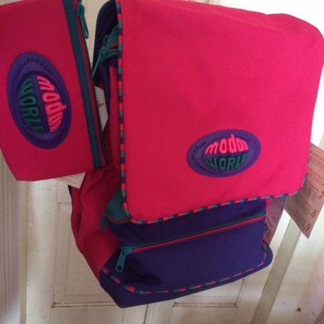 Школьный новый рюкзак каркасный ортопедический с пеналом и чехлом