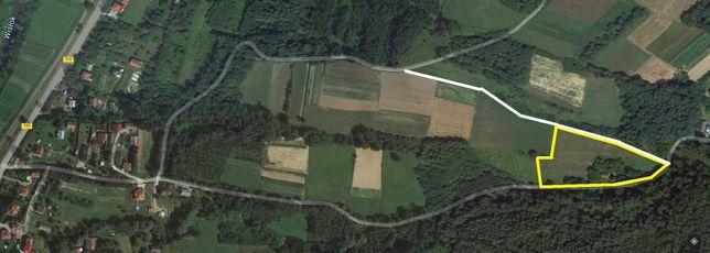 Działka rolna 1,26 ha, dwie drogi, przy lesie i strumyku k. Strzyżowa