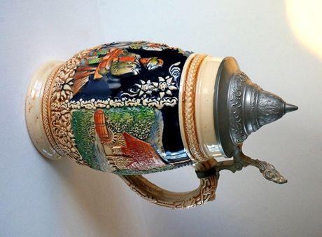 Керамическая пивная кружка с оловянной крышкой, Германия, номерная