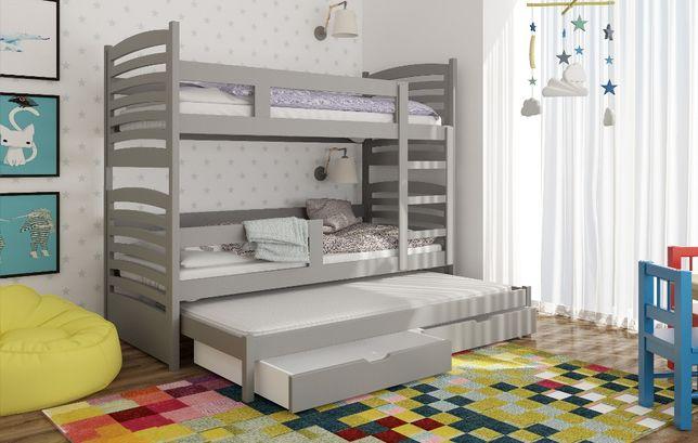 Drewniane łóżko dla dzieci trzyosobowe z materacami dostawa do 5 dni