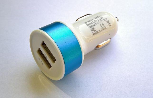 Ładowarka 2 x USB 3.1 A - 12V / 24V - 2.1A i 1.0A biało - niebieska