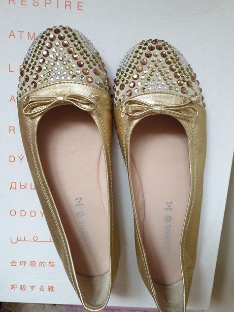 Золотые балетки туфли итальянские кожаные