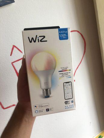 Lampada led colorida inteligente wiz + candeeiro preto