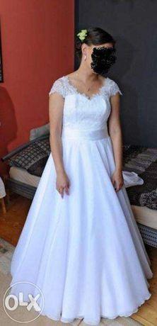 Suknia ślubna koronka hiszpańska princesska rybka kokarda klasyk