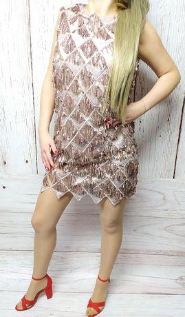 Sukienka NOWA Monnari 38 M cekiny sylwestrowa pudrowy róż błyszcząca