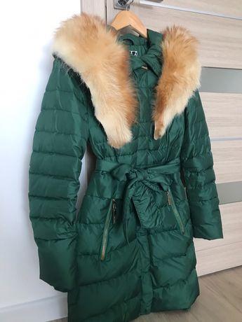 Куртка пуховик з натуральним мехом. Розмір S