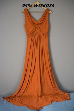 Wiskozowa letnia ruda sukienka maxi na ramiączkach