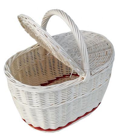Kosz na piknik, zakupy ECRU (pas bordo - dół)