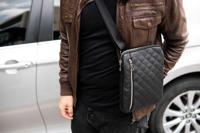 Кожаная мужская сумка через плечо The Classic месенджер под тетрадь