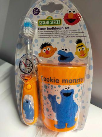 Escova dentes com temporizador + copo Monstro das Bolachas