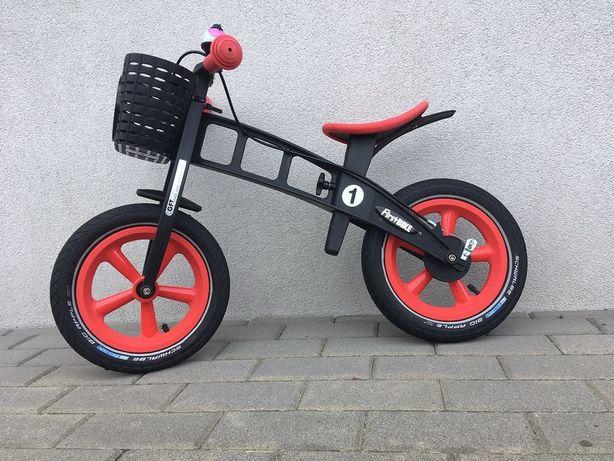 rowerek FirstBIKE LIMITED ORANGE uchwyt obniżający, koszyczek IDEALNY
