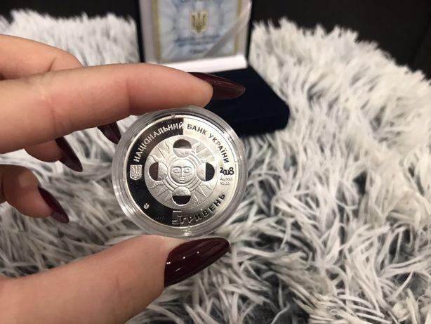 Монета 5 гривен серебро Дева