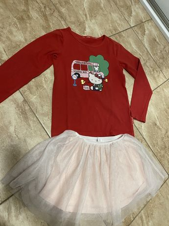 Zestaw bluzka z Hello Kitty i spodniczka tiulowa r.104