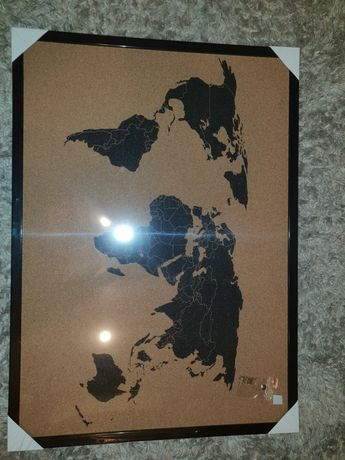 Mapa świata - korkowa tablica do powieszenia na ścianie