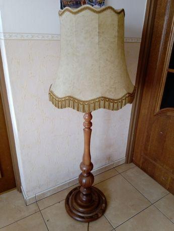 Lampa abażur stojąca retro drewniana piękna solidna