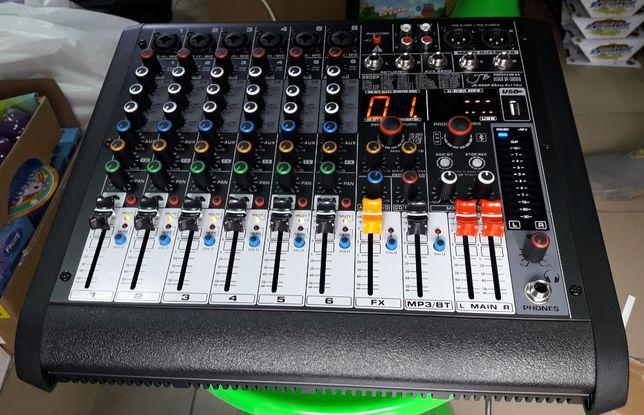 Активный Микшерный пульт (2х170 Вт) на 6 каналов с процессором, USB+BT