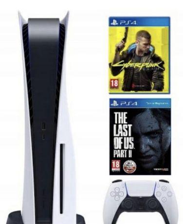 PlayStation 5 Konsola PS5 Z Napędem + Cyberpunk + The Last Of Us