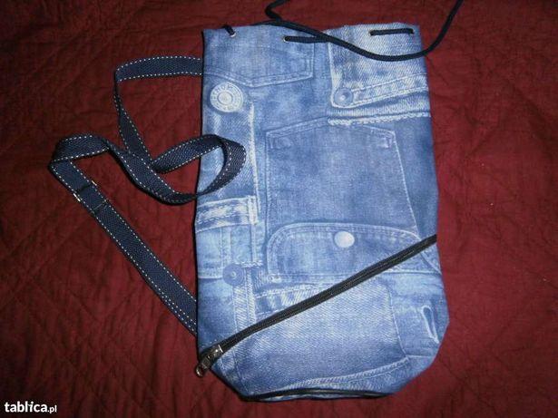 Plecak typu worek ,unisex, we wzór DENIM