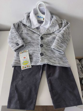 Garnitur ubranko komplet do chrztu chłopiec nowy 86 cm