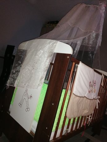 Łóżeczko Dziecięce Drewniane + Dodatki