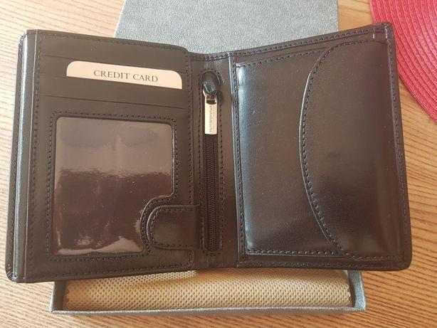 PAESINI czarny portfel męski SKÓRZANY nowy