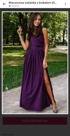 Sukienka długa śliwkowa, nowa z metką,  rozmiar 38