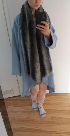 Płaszcz peleryna ciepło niebieski Together M L