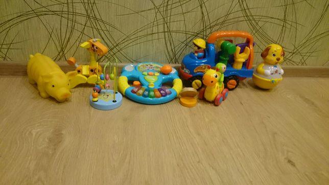 Лот игрушек, машинки,руль музык,неваляшка,vtech интерактивные,лабиринт