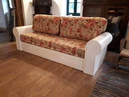 Bielona kanapa rustykalna rozkładana wyjątkowa