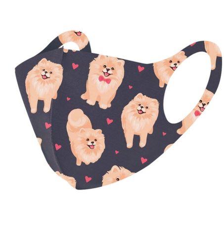 Maska maseczka ochronna wielokrotnego użytku pies pomeranian szpic min