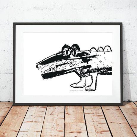 skandynawski plakat, plakat krokodyl, biało-czarny plakat z krokodylem