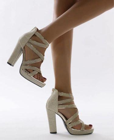 Sandalias de Salto Alto - Glitter - Portes Gratis