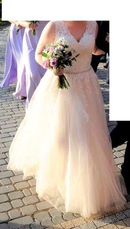 Suknia ślubna (pudrowy róż, w cenie długi welon i dodatki)