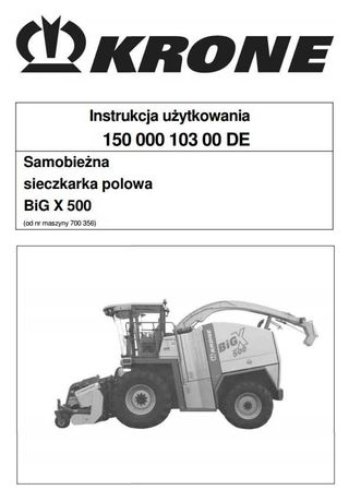 Instrukcja obsługi sieczkarni Krone big x 500