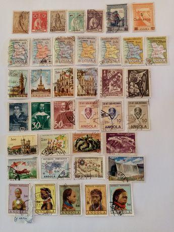 Selos antigos Angola e Índia 118 selos