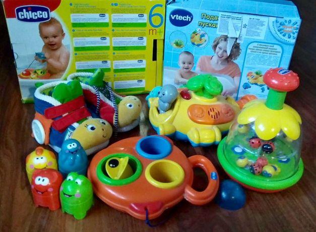 Іграшки розвивальні і для купання. Рибка і дзиґа Chicco, Лодка-фонтан