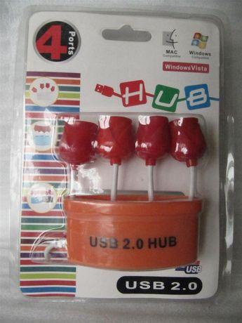 USB Hub 1x4 в виде корзинки тюльпанов, новый