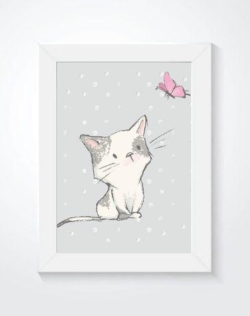 Plakat, obrazek dla dziecka, metryczka, modlitwa, kotek, ramka