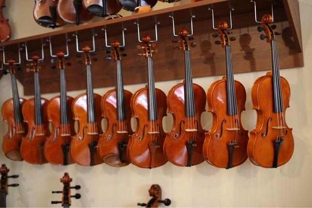 skrzypce, altówki, wiolonczele, kontrabasy lutnicze