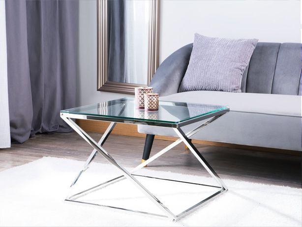Mesa de centro prateada com tampo de vidro BEVERLY - Beliani