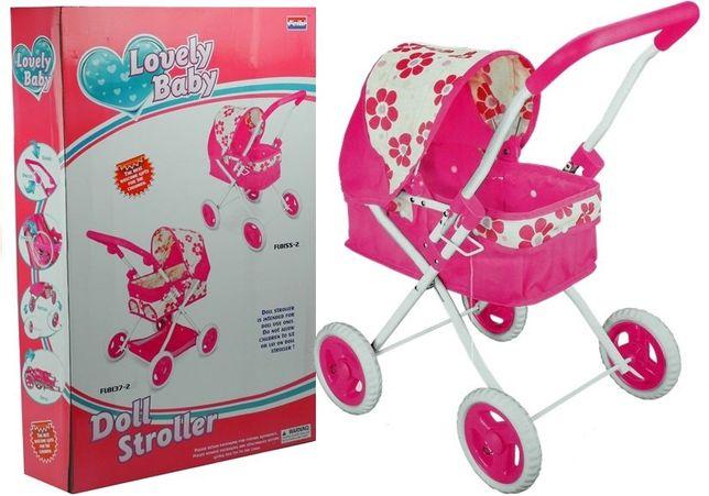 Wózek dla lalek Głęboki różowy śliczny