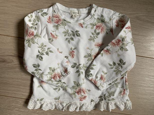 Bluza Newbie biała w kwiatki r 80