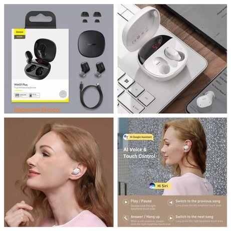 Baseus WM01 PLUS TWS Wireless Bluetooth earphones Branco -Novo-24h