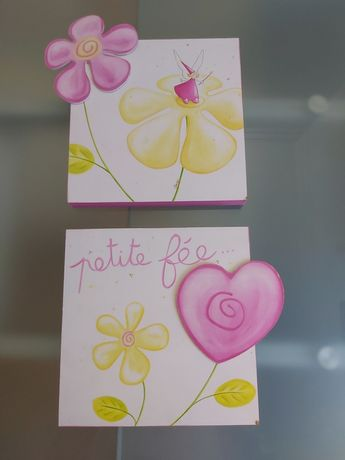 """Quadros infantis artesanais """"Petite fée"""" feitos em França"""